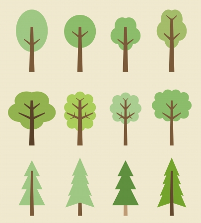 Tree icon set - cute trees cartoon illustration. Nature collection. Vector