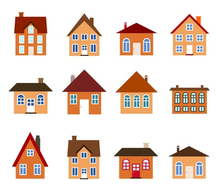 House set - colourful home icon collection (warm colors). Illustration group. Private residential architecture. Vector