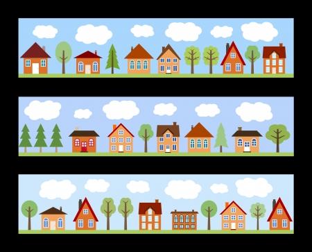 Kleine Stadt mit Blick auf die Straße cartoon Häusern und Bäumen. Europäische Dorfstraße Banner.