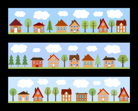 Small town street view with cartoon homes and trees. European village street banners. Vector
