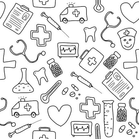 Nahtlose Muster mit Gesundheitswesen, Medizin und Pharmazie Icons und Symbole. Medizinischer Hintergrund doodle.
