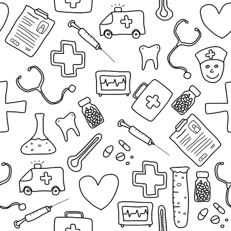 Seamless pattern with healthcare, medicine and pharmacy icons and symbols. Medical background doodle.