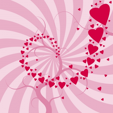 Romantic celebration background for Valentine's Day. Hearts and concentric rays backdrop. Love whirl. Vector