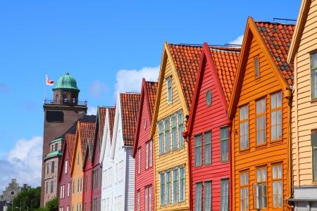 Bergen - famous town in Hordaland county, Norway.  Stok Fotoğraf