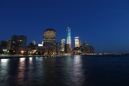 New York City, United States - Lower Manhattan skyline from. Night view.