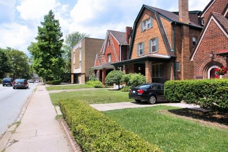Pittsburgh, Pennsylvania - stad in de Verenigde Staten. Wijk Shadyside woonwijk. Stockfoto
