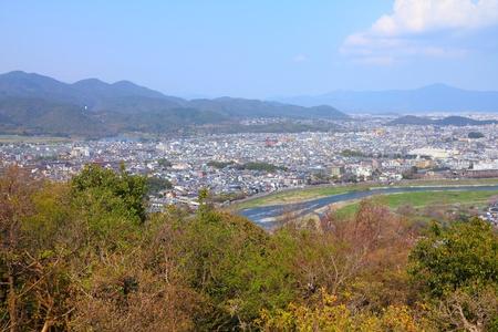 Kyoto, Japan - city in the region of Kansai. Aerial view with Katsura river and Ukyo ward.