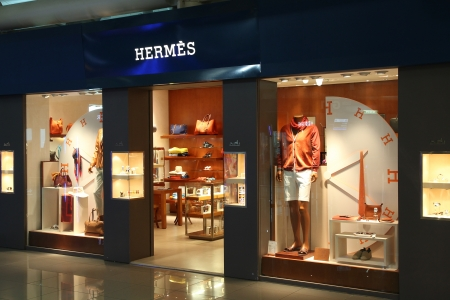 ROME - APRIL 11: Hermes fashion store at Fiumicino Airport on April 11, 2012 in Rome. Hermes was founded in 1837 and 2.4 bn EUR in revenue in 2010. Editorial