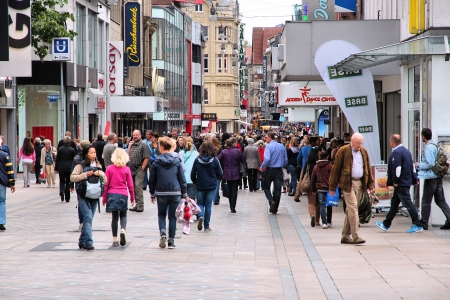 record shop: DORTMUND, GERMANY - JULY 16: People shop in the Old Town on July 16, 2012 in Dortmund, Germany. 2011 was the record year for growing Dortmund tourism with 594,712 visitors. Editorial