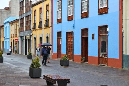 laguna: LA LAGUNA, SPAIN - OCTOBER 30: People visit Old Town on October 27, 2012 in La Laguna, Spain. Famous town San Cristobal de La Laguna on Tenerife is a UNESCO World Heritage Site.