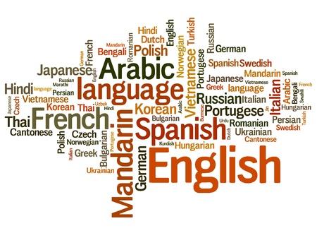 diversidad cultural: Lenguas del mundo ilustración de la palabra nube. Concepto de collage Word.