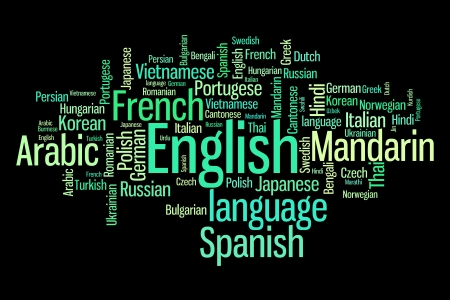 linguistics: Languages of the world word cloud illustration. Word collage concept.