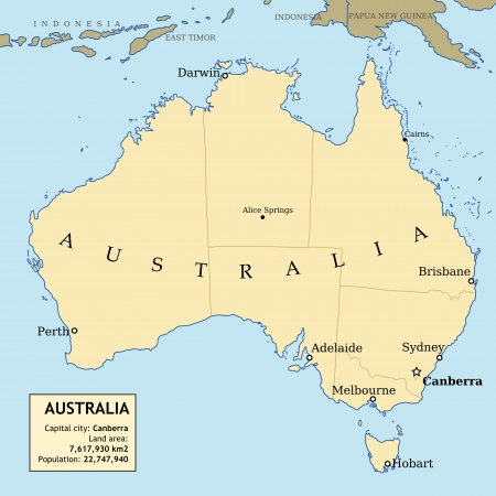 23417413 map of australia with all important cities and administrative division into states and information data table