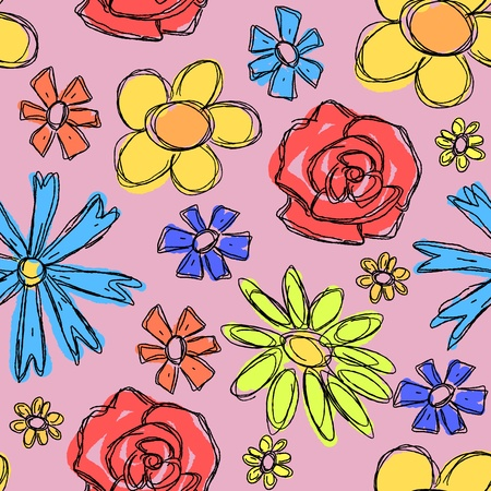 Floral background doodle. Scrapbook scribble seamless texture with flowers. Design for wrapping paper. Vector