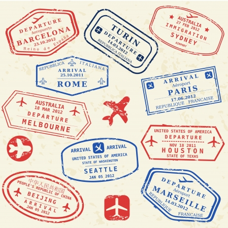 Colorful fictitious visa stamps set. International business travel concept. Frequent flyer visas.