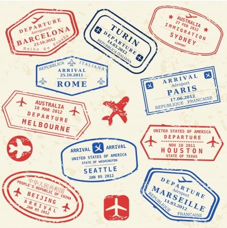 Coloridos sellos de visado ficticias establecidas. Concepto de viajes internacionales de negocios. Visas de viajero frecuente. Foto de archivo - 23417420