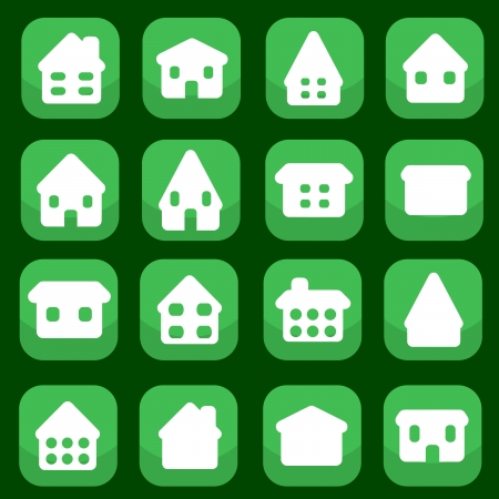 Home icon button set - house rounded icon collection. Illustration group. Private residential architecture. Vector
