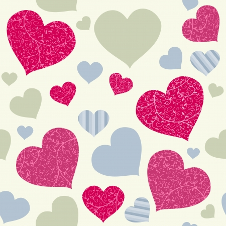 Colorful hearts seamless background texture. Love and Valentines Day design. Vector