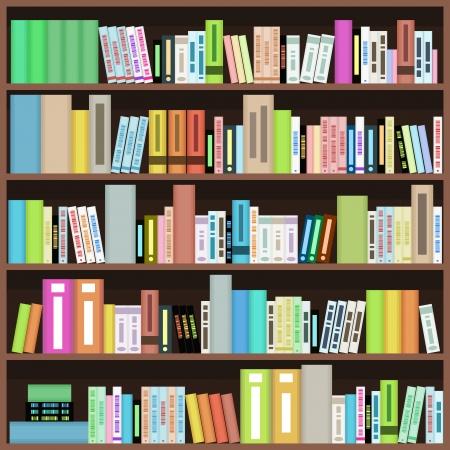 Bookcase with colorful books in library, bookstore or home. Literature design.