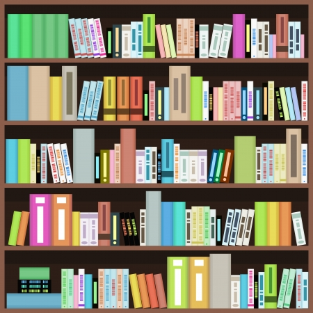 Bookcase with colorful books in library, bookstore or home. Literature design. Vector