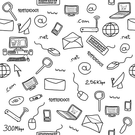 Seamless pattern with computer, internet and networking icons and symbols. Internet background doodle. Vector