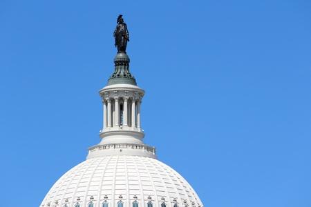 pluribus: Washington DC, capital city of the United States. National Capitol building close up with famous motto E Pluribus Unum