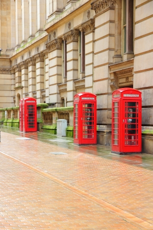 Birmingham red telephone boxes. West Midlands, England. photo