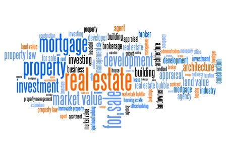 real estate: Real estate investment and trading word cloud illustration. Word collage concept.