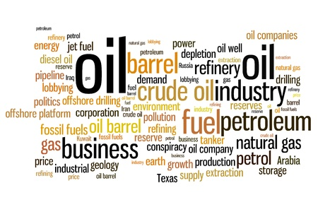Oil and petroleum industry word cloud illustration. Word collage concept. illustration