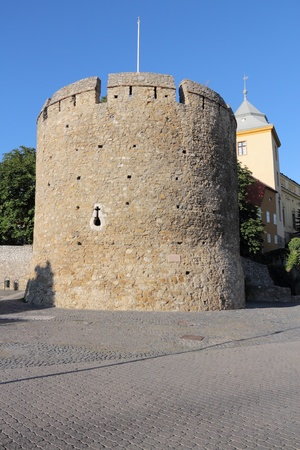 pecs: Pecs, Hungary. City in Baranya county. Town walls defensive tower.