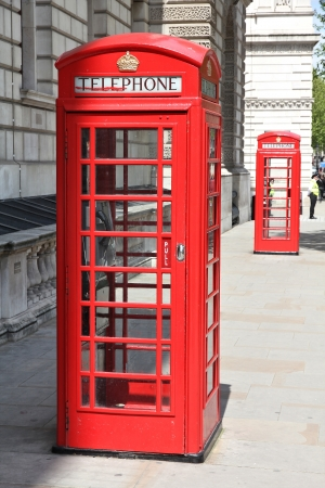 London, United Kingdom - red telephone boxes typical for England photo