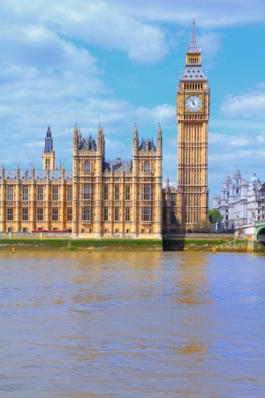 London, United Kingdom - Palace of Westminster (Houses of Parliament) with Big Ben clock tower. UNESCO World Heritage Site. photo