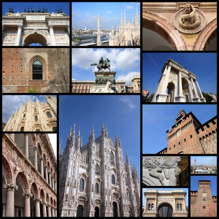 Photo collage from Milan, Italy. Collage includes major landmarks like the castle, cathedral and university.