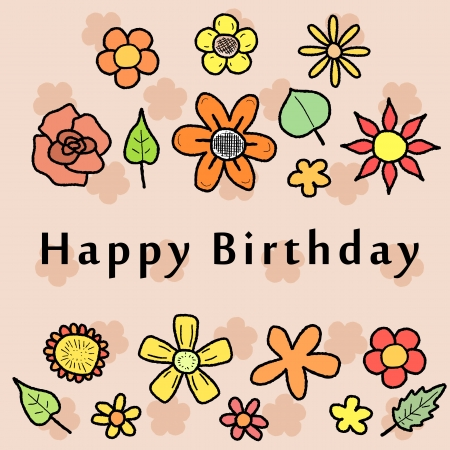 Happy Birthday Greeting Card With Colorful Doodle Flowers