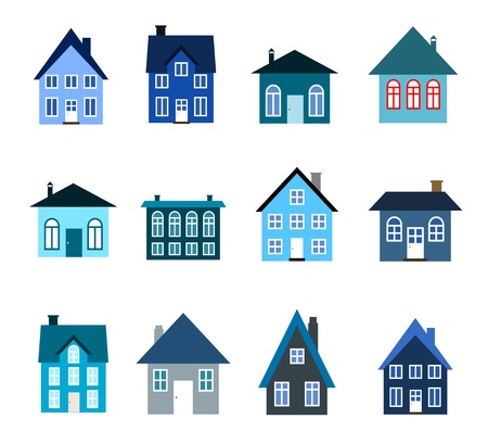 House set - colourful home icon collection (cold colors). Illustration group. Private residential architecture. Vector