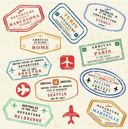 カラフルな架空のビザ切手を設定します。国際的なビジネス旅行の概念。フリークエント ・ フライヤー ・ ビザ。