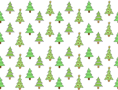 Seamless pattern with Christmas trees. Holiday background doodle. Vector