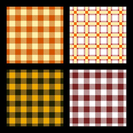 Checkered background illustration. Set of colorful checkered seamless patterns. Typical patterns for tablecloth designs. Vector