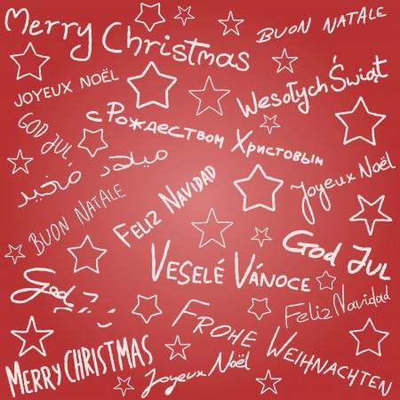 Frohe Weihnachten - Saison Wünsche doodle in mehreren Sprachen. Weihnachten Hintergrund.