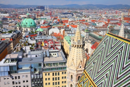 Vienna, Austria - aerial view of the cathedral and the Old Town, a UNESCO World Heritage Site. Stock Photo