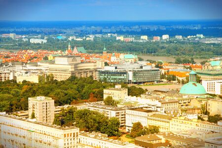 Warsaw, Poland. View towards the Old Town from famous Palace of Culture and Science, tallest building in Poland.  photo