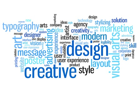 keywords advertise: Design and visual arts word cloud illustration. Word collage concept. Stock Photo