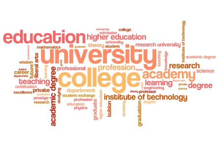 University and college education word cloud illustration. Word collage concept. illustration