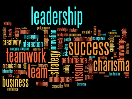 Business leadership and teamwork word cloud illustration. Word collage concept. illustration
