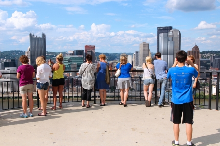 PITTSBURGH - JUNE 29: People visit skyline overlook on June 29, 2013 in Pittsburgh. With a population of 306,211 it is the 2nd largest city in the U.S. state of Pennsylvania.