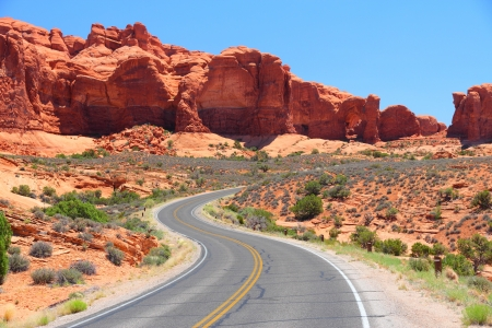 Arches National Park in Utah, USA. Famous Arches scenic drive road. Stock Photo
