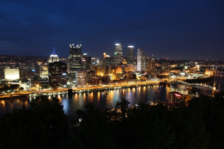 allegheny: Pittsburgh, Pennsylvania - city evening view in the United States. Skyline with Allegheny and Monongahela River. Editorial