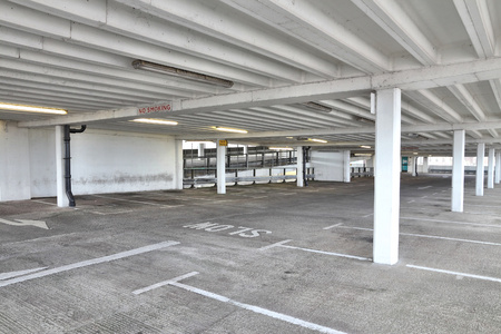 car park interior: Multi-storey car park interior. Generic parking garage in England. Editorial