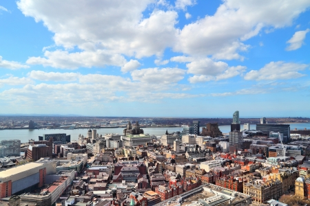 Liverpool - city in Merseyside county of North West England (UK). Aerial view with downtown and famous Pier Head  Stock Photo