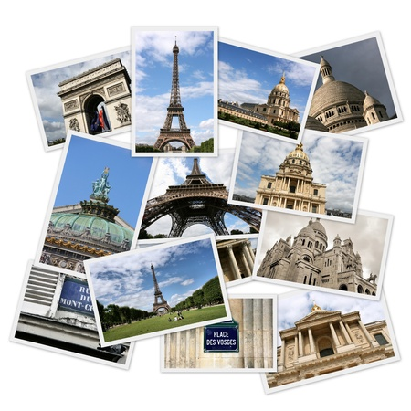 Postcard collage from Paris, France. Collage includes major landmarks like Triumphal Arch, Eiffel Tower, Vosges square and Opera Garnier.
